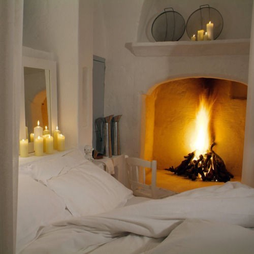 cozy bedroom and fire