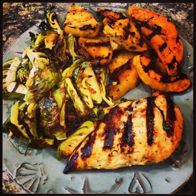 grilled chicken, grilled pineapple and butternut squash and roasted brussels sprouts and fennel. shawna tested, paleo approved.