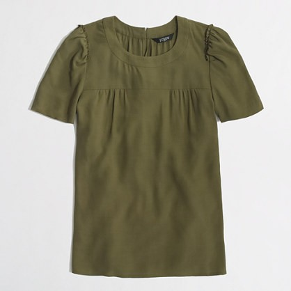tuscan olive draped gathered top.