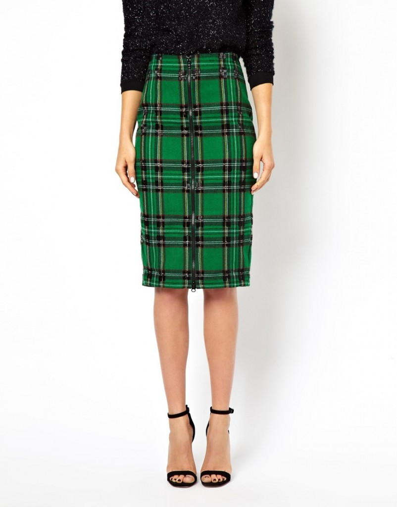 asos check pencil skirt with bead embellishment | asos | $92.82