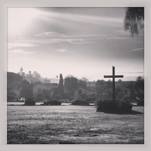 captured the sun coming up over the grounds of the mission.