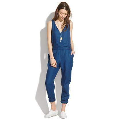 madwell's indigo linen jumpsuit.