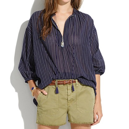 madewell's openview tunic in dotted line.