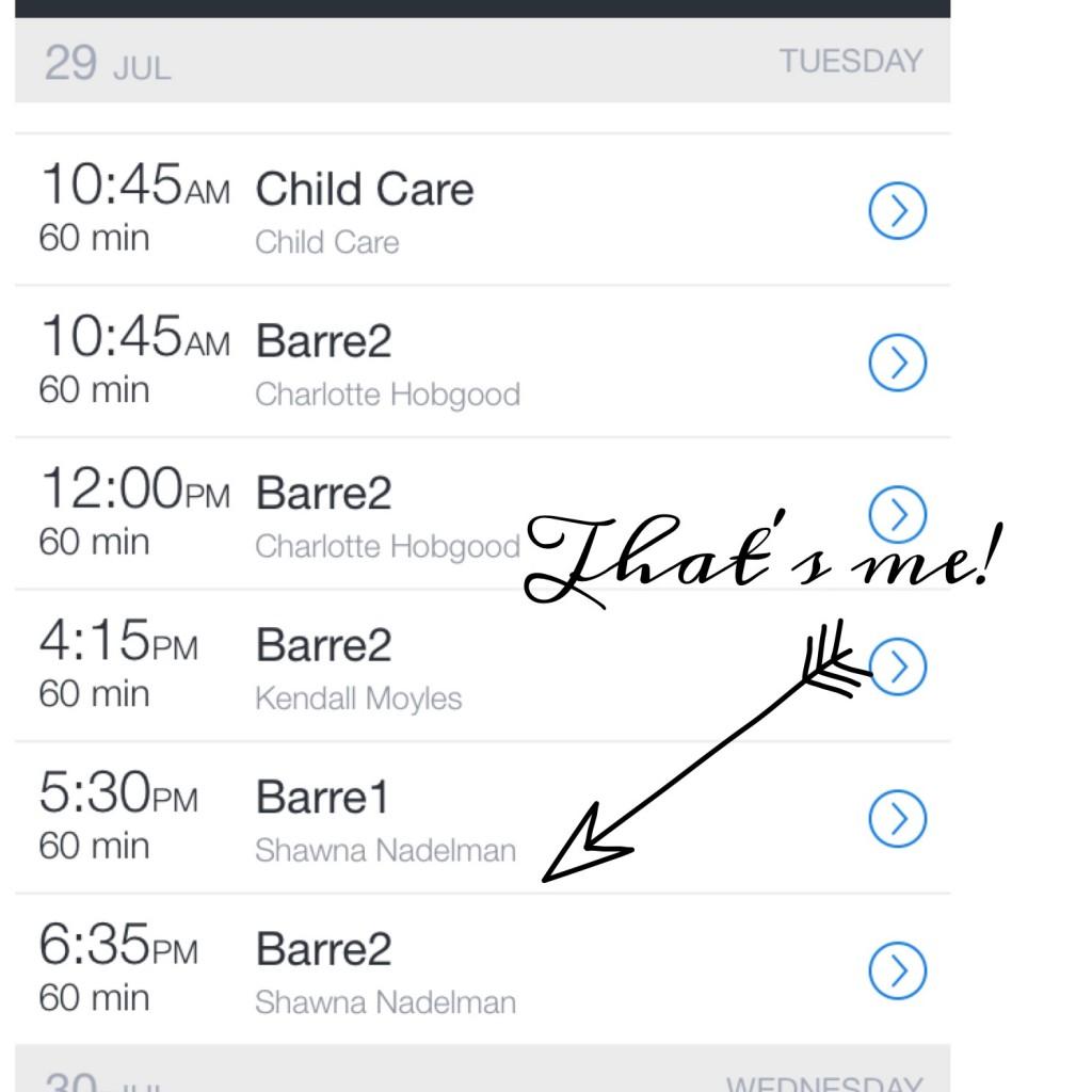 barre schedule