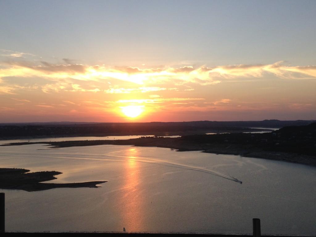 sunset over lake travis.