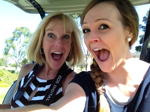 mom & me in a golf cart