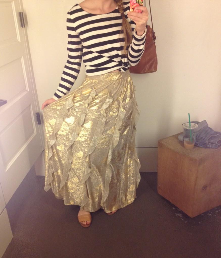 anthro gold skirt