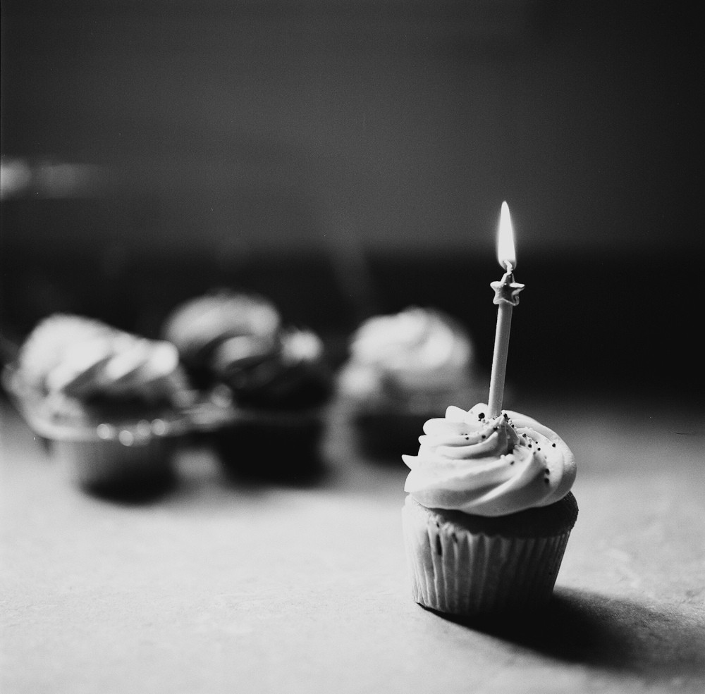 b&w cupcake