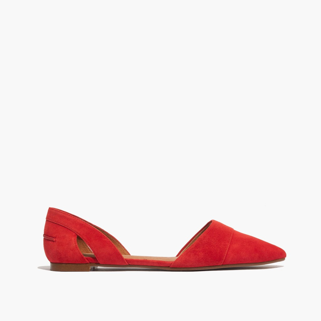 d'orsay flat red suede