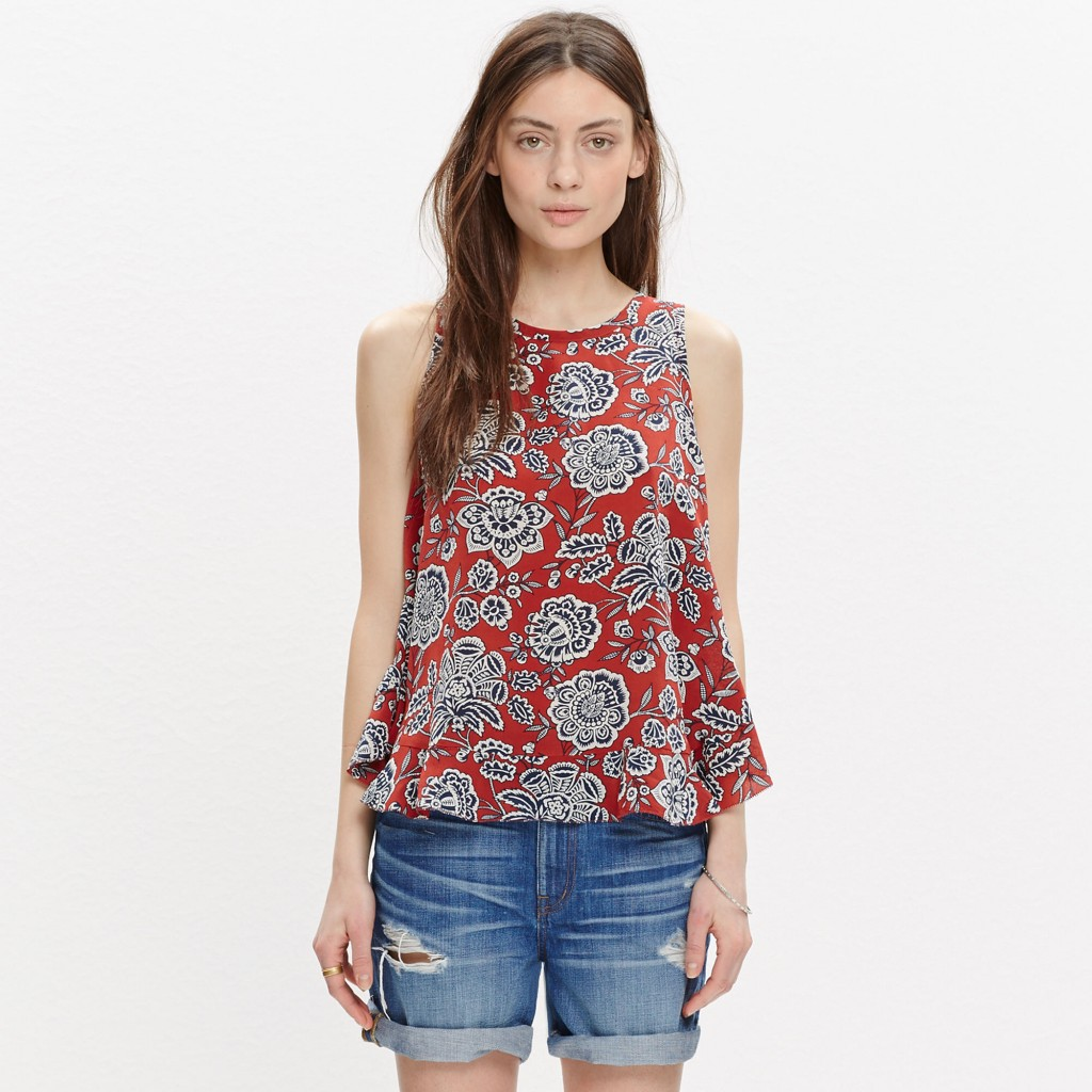 Silk Bow-Back Tank Top in Italian Floral