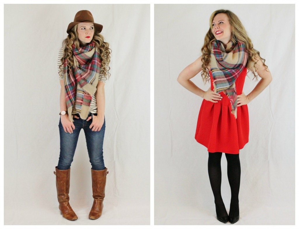 plaid scarf for day & play