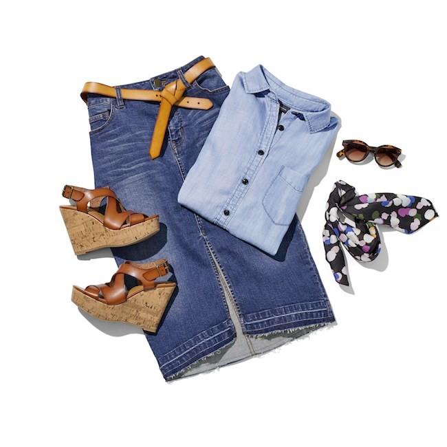 Laydown-Group-Blue-Denim-Skirt-with-Tan-Belt-Denim-Button-Down-Sunglasses-Multicolor-Scarf-Tan-and-Cork-Wedge-Heels_1