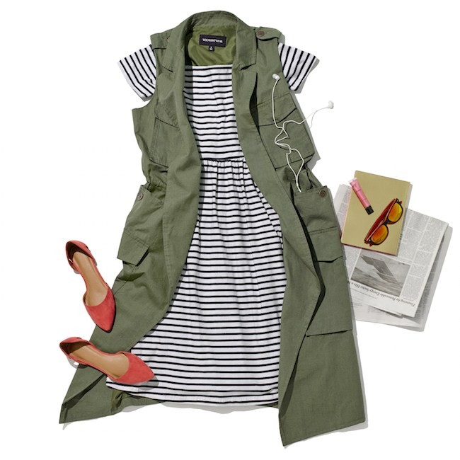 Laydown-Group-Green-Trench-Vest-Black-and-White-Striped-Short-Sleeve-Dress-Red-Flats-Sunglasses-Newspaper_1