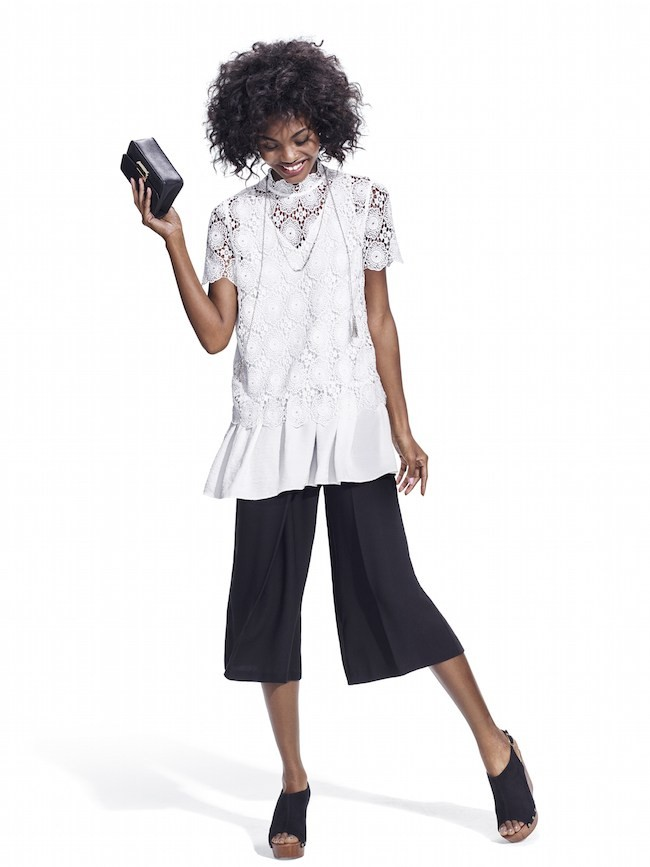 Studio-Model-wearing-white-lace-high-neck-teee-over-white-tank-with-black-cullotes-and-black-wedge-slides