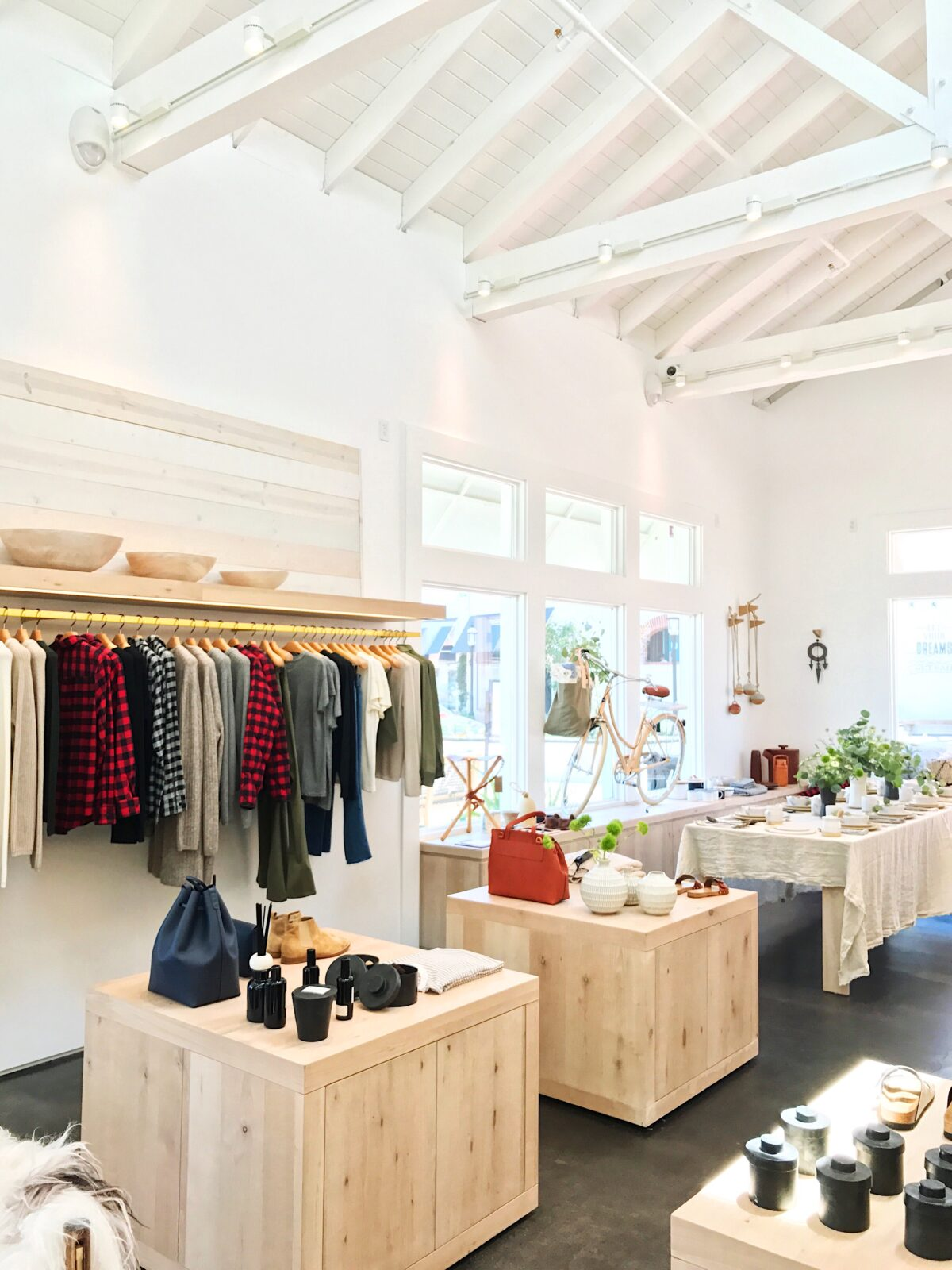 thanks to the vaulted ceilings bay windows and the crisp white painted interior the store is all shades of dreamy with its abundance of natural light the - Jenni Kayne Store