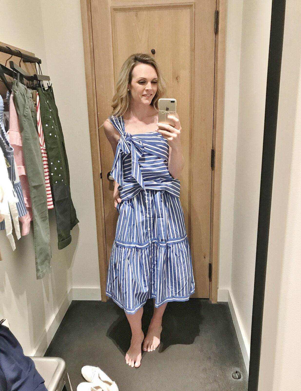 one-shoulder bow top (2) + button-front striped skirt (2)  a74fe0cffb65